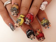 ang ganda my nail art rin pla ng naruto :) Elegant Nail Designs, Beautiful Nail Designs, Cute Nail Designs, Naruto Nails, Anime Nails, Kawaii Nail Art, Cute Nail Art, Hot Nails, Hair And Nails