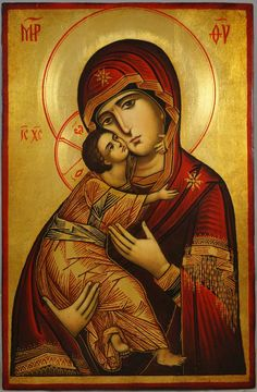 Our Lady of Vladimir -This is a premium quality icon painted using traditional technique - egg tempera, solid lime wood panel, varnish, gold leaf. About our icons Blessedmart offers hand-painted religious icons that follow the Russian, Greek, Byzantine and Roman Catholic traditions. We partner with some of the most experienced iconographers in the country. Artists with more