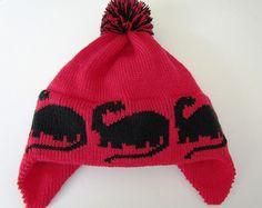 Red Knit Kids Hat Black Dinosaur with Big Fluffy by BabbidgePatch, $22.00