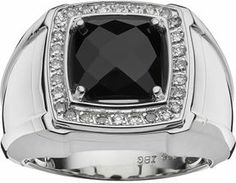 Sterling silver onyx & 1/4-ct. t.w. diamond ring - men on shopstyle.com