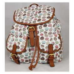Ladies Retro Donuts Print Canvas Backpack Rucksack Cream Multi (12 CAD) ❤ liked on Polyvore featuring bags, backpacks, patterned backpacks, pattern bag, retro rucksack, knapsack bag and retro backpacks