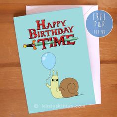 Adventure Time Lich King Snail Balloon Birthday Greetings Card (Glossy) on Etsy, $4.86