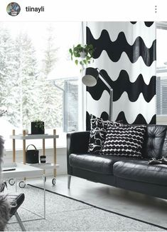 Living room in. Marimekko, Lowrider, Steps Design, Black And White Interior, Living Spaces, Living Room, Dressing, White Home Decor, White Houses