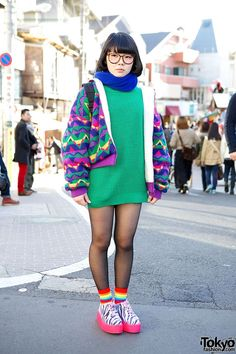 Harajuku Girl in Glasses, Colorful Fashion & Neon Zebra Creepers