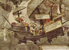Greek Philosopher Pyrrho in stormy seas painted by  Petrarca-Meister (1st quarter of 18th century)