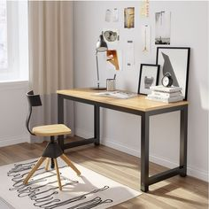 Tribesigns Computer Desk, 55 inch Large Office Desk Computer Table Study Writing Desk Workstation for Home Office, Light Walnut Large Office Desk, Home Office Table, Best Home Office Desk, Home Desk, Home Office Furniture, Desk Office, Furniture Ideas, Small Workspace, Small Office