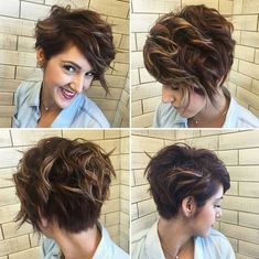 40 Best Pixie Haircuts for Women 2018 - Short Pixie Haircuts & Long Pixie Cuts - Einfache Frisuren Short Curly Haircuts, Curly Hair Cuts, Messy Hairstyles, Curly Hair Styles, Curly Short, Wavy Hair, Long Pixie Bob, Wavy Updo, Curling Pixie Hair