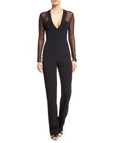 Long-Sleeve+V-Neck+Jumpsuit,+Black+by+Cushnie+et+Ochs+at+Neiman+Marcus.