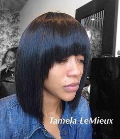 collar-bone straight bob with arched bangs - Frisuren Medium Hair Cuts, Medium Hair Styles, Curly Hair Styles, Natural Hair Styles, Quick Weave Hairstyles, Hairstyles With Bangs, Cute Medium Haircuts, Short Haircuts, Short Hairstyles