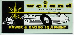 vtg weiand water decal power racing equipment hot rod drag race speed shop