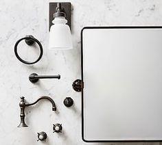 bath | Pottery Barn Bathroom Hardware, Bathroom Fixtures, Bathroom Rugs, Small Bathroom, Bathroom Ideas, Bathroom Remodeling, Barn Bathroom, Modern Bathroom, Bathroom Vanities