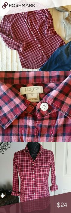 J. Crew Factory Plaid Button Down Shirt Perfect for Fall! Red, pink, black color. Hard to describe colors. See pics. Size small. 100% cotton. Long sleeves.  Can roll up. Laying flat measures approximately  Bust 18 inches  Length 26 inches.  Open to reasonable offers. Bundle and save! J. Crew Factory Tops Button Down Shirts