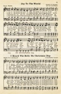 Here is a vintage sheet music graphic that includes two Christmas hymns: Joy To The World and I Heard The Bells On Christmas Day. The page is from the vintage songbook The Golden Book of Favorite Songs, Christmas Sheet Music, A Christmas Story, Christmas Carol, Vintage Christmas, Country Christmas, Free Sheet Music, Vintage Sheet Music, Vintage Sheets, Music Sheets
