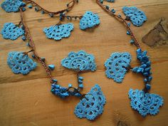 collana lariat di crochet turchese e marrone grande di PashaBodrum