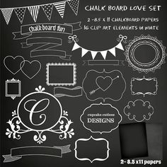 ChalkBoard Set Digital Clipart Elements and Papers Commercial use for paper… Chalkboard Boarders, Blackboard Art, Chalkboard Paper, Chalkboard Lettering, Chalkboard Designs, Framed Chalkboard, Chalkboard Quotes, Chalkboard Clipart, Christmas Chalkboard