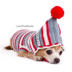 Christmas Dog Hoodie Cute Yorkshire Clothes for Holiday Season DF80 by Myknitt #christmasdoghoodie #christmasdogclothes #christmasdogsweater #DIYdogclothes