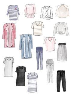 Capsule Wardrobe für Umstandsmode erstellen - so gehst Du vor um Deine eigene Garderobe zu nähen Capsule Wardrobe, Girly Things, Outfit, Pregnancy, Shirts, Polyvore, Cute, Fitness, Fashion