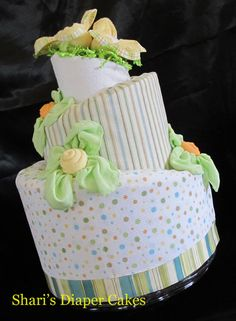 Only pinning once. I craft diaper cakes and this is a topsy turvy 3-tier diaper cake. I have a shop at www.sharisdiapercakes.etsy.com.