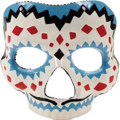 Brightly colored mask perfect for celebrating Mexico's Day of the Dead!! Male mask with mustache. Red, Black, Blue. One size fits most. Box Dimensions (in Inches) Length : 7.00 Width : 7.00 Height : 6