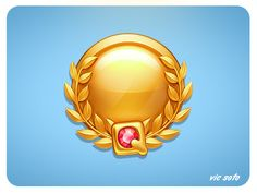 Dribbble - Gold Medal by Victor Soto I Love Games, Cute Games, Game Gui, Game Icon, Treasure Games, Flag Game, 2d Game Art, Button Game, Game Ui Design