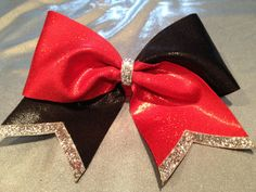 3 Luxury Cheer Bow Red Black and Silver by FullBidBows on Etsy
