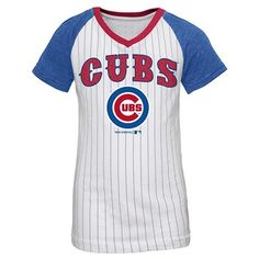 Chicago Cubs Girls' Anthony Rizzo Pinstripe T-Shirt Jersey - White XL, Multicolored White