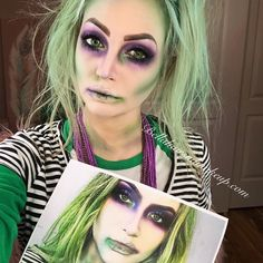 10 Spooky Makeup Looks for the Halloween Fanatic Beetlejuice Halloween Costume, Beetlejuice Makeup, Halloween Juice, Halloween Costumes For Girls, Halloween 2020, Diy Costumes, Costume Ideas, Beatle Juice Costume, Beetle Juice Costume Female