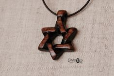 Star of David Jewish Symbol Jewelry - Shield of David Necklace – Hexagram Jewish Gifts - Handcrafted Wood Jewelry by CritherArt Hand Carved, Hand Painted, Jewish Jewelry, Jewish Gifts, Spiritual Jewelry, Star Of David, Wooden Jewelry, Wall Sculptures, Traditional Art