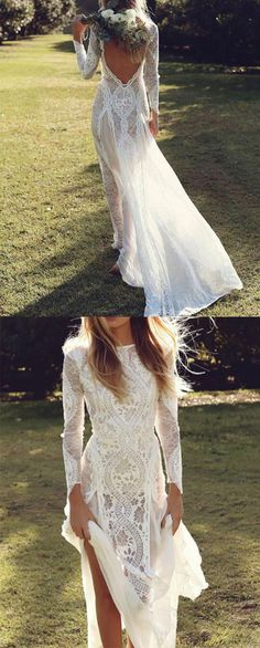 Elegant Long Sleeves Lace Beach Wedding Dress, Ivory Long Lace Bridal Dress from Tidedress Cheap Wedding Dresses Uk, Long Gown For Wedding, Long Sleeve Bridal Dresses, Beach Bridal Dresses, Backless Lace Wedding Dress, Elegant Wedding Dress, Wedding Bridesmaid Dresses, Perfect Wedding Dress, Bridal Gowns