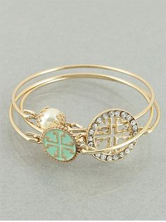 Set of 3 Mint and Goldtone Cross Bangle by JewelJunkieShop on Etsy