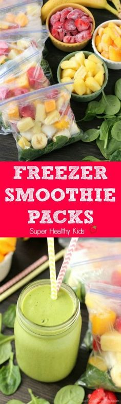Freezer Smoothie Packs. Just add water or milk to these make ahead freezer…