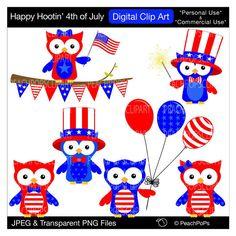 Buy 2 Get 1 Free SALE - clip art digital owls America fourth of July celebration - Happy Hootin 4th of July - Digital Clip Art by peachpopsclipart on Etsy https://www.etsy.com/listing/75769492/buy-2-get-1-free-sale-clip-art-digital