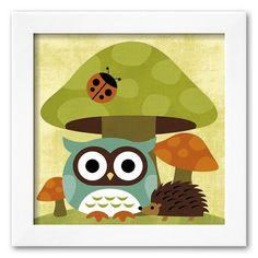 Art.com Owl and Hedgehog Framed Art Print by Nancy Lee, Multicolor