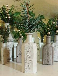 Vintage bottle Christmas decorations