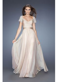 2014 A-line Cap Sleeves With Beaded Criss Cross Front Chiffon Long Prom Dresses/ Formal Dress 20390