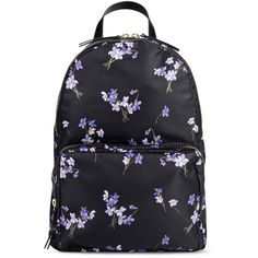 Redvalentino Printed Backpack ($540) ❤ liked on Polyvore featuring bags, backpacks, black, red valentino bag, flower print backpack, floral print bag, zip bags and floral rucksack