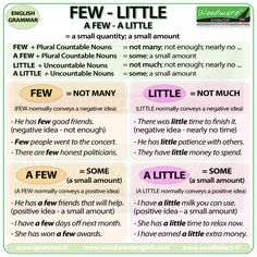 The difference between FEW, LITTLE, A FEW and A LITTLE in English Grammar Repinned by Chesapeake College Adult Ed. We offer free classes on the Eastern Shore of MD to help you earn your GED - H.S. Diploma or Learn English (ESL). www.Chesapeake.edu
