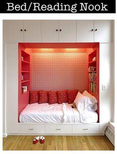 DM's nook bedroom with lots of bookshelves.