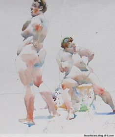 Charles Reid :  contour drawing supported by watercolour tone.