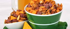 """Editorial director Jeff Nowak shares this hearty Cheddar Chex Mix® snack recipe inspired by his favorite football team. """"As a fan who bleeds green and gold, I had to create a signature snack to serve for the Big Game,"""" says Jeff."""