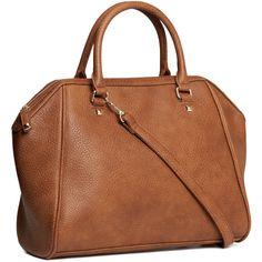 H&M Handbag (20 CAD) ❤ liked on Polyvore featuring bags, handbags, purses, accessories, sacs, bolsas, cognac brown, h&m bags, brown bag and brown purse