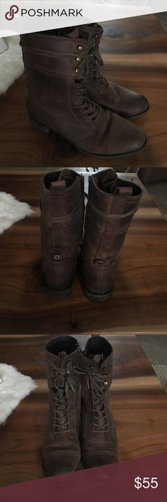 Clarks Lace-Up Boots Worn only about three times! Can be only laced up partially for a more relaxed look!! Beautiful soft but structured leather. Super comfortable and stylish! Clarks Shoes Lace Up Boots
