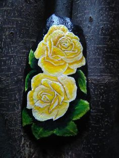 Yellow rose painted rock Painted Flowers, Painted Stones, Stone Painting, Rock Painting, Stone Art, Yellow Roses, Restaurant Design, Rock Art, Classroom