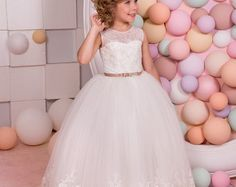 Ivory Lace Flower Girl Dress - Wedding Party Bridesmaid Holiday Birthday Ivory Tulle Lace Flower Girl Dress 14-1073