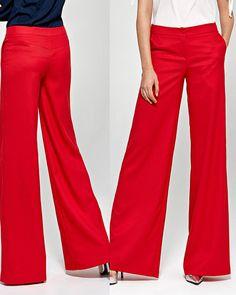 eea3851db3ea9 Pantalon femme rouge bas large évasé habillé COLETT CSD02 FR 38 40 42 44 46