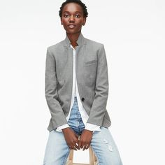 crew: regent blazer in four-season stretch, right side, view zoomed Popped Collar, Crew Clothing, Stretch Pants, Work Attire, Cashmere Sweaters, Mens Suits, Autumn Fashion, Women's Fashion, J Crew