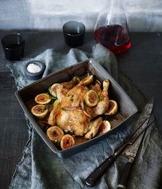 Chicken roasted with butter, figs and verjuice