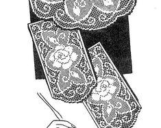 Vintage Crochet PATTERN 7319 Chair Set Pattern Filet Flowers 1960s stitches Instant PDF download
