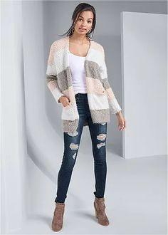 COZY STRIPED CARDIGAN - Gemma Fashion
