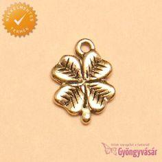 Aranyszínű lóhere - nikkelmentes fém fityegő Brooch, Rings, Accessories, Jewelry, Brooch Pin, Jewlery, Bijoux, Brooches, Ring